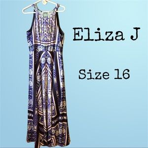 Eliza J Blue Handkercheif Maxi Dress Size 16.